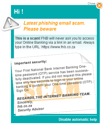 Phishy email scam